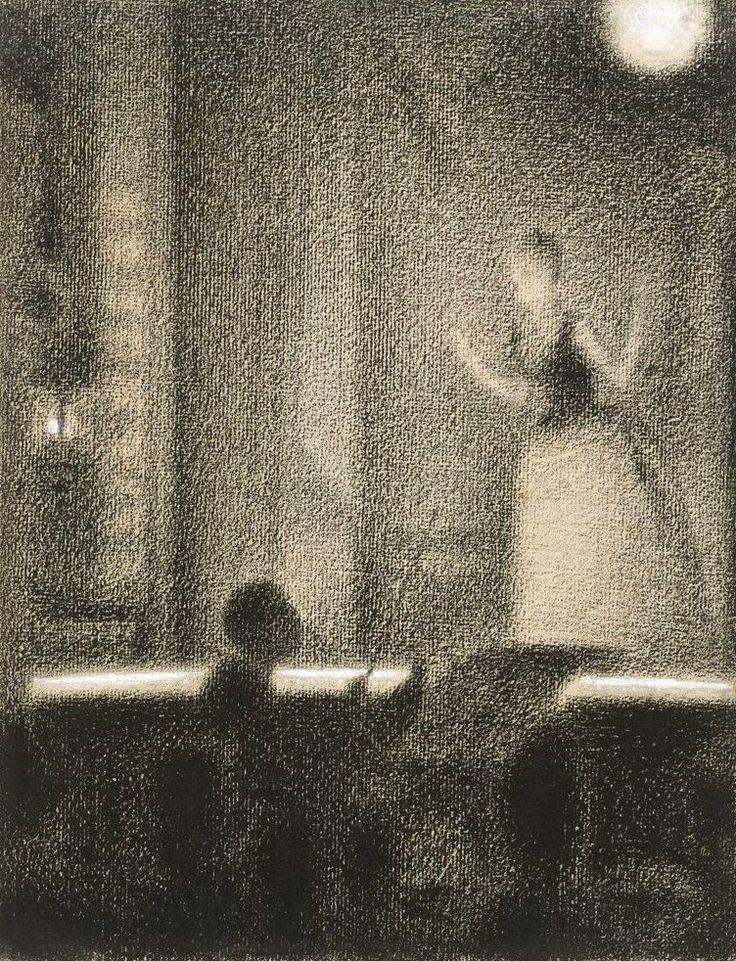 Georges Seurat, At the Gaîté Rochechouart (Café-concert), ca.1887-88, Conté crayon with gouache on laid paper, 12 1/16 x 9 3/16 in.