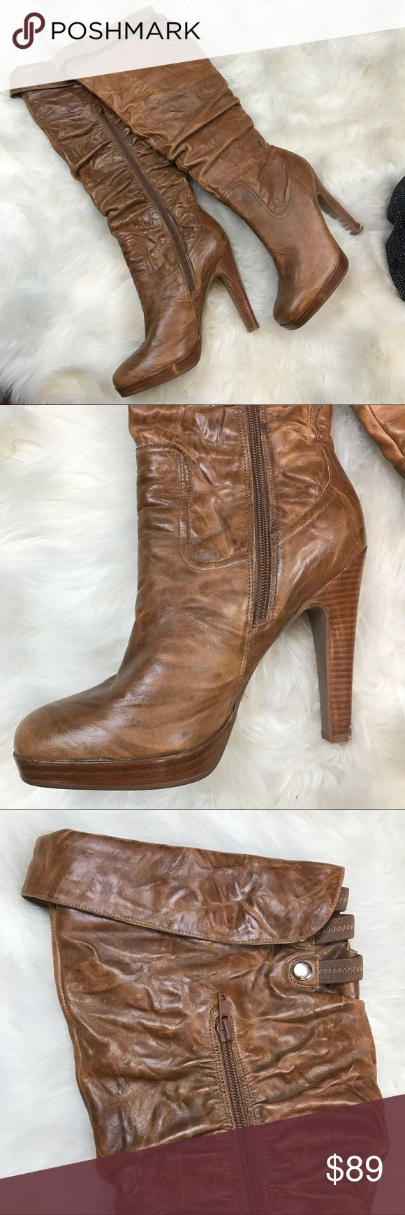Jessica Simpson YANA tall brown boots Like new  condition .  Lightly worn once . Tall knee high medium brown leather heels . Fold over top ! When they're on you can't even tell they have some booboos !   Flaws shown in photos , price reflects .    💙 please use the offer button  🛍 BUNDLE FOR 10% OFF •   🚭smoke free  🌟 5 star rating   www.thethugwife.com 💀 @thethugwifeboutique             🚫 🙅🏻 N O   TRADES 🙅🏻 🚫 Jessica Simpson Shoes Heeled Boots