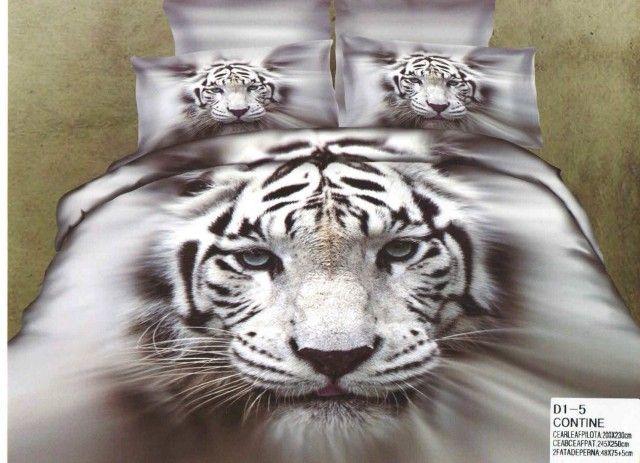 AlyShop: Lenjerie din bumbac satinat pentru pat dublu gri cu tigru  http://alyshop.ro/pHg