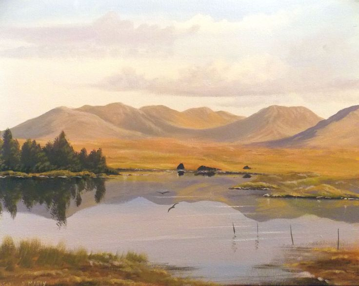 lakeside reflections - Painting,  2x16x20 in ©2013 by Cathal O Malley -              lake  connemara, co galway, ireland, mountaINS IRELAND