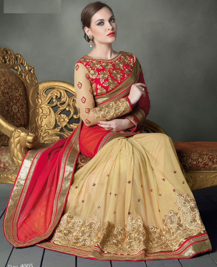 Saree Collection, Designer Sarees Collection, Beige Color, Party Wear Sarees,  Red, Festival Party, Beige Colour