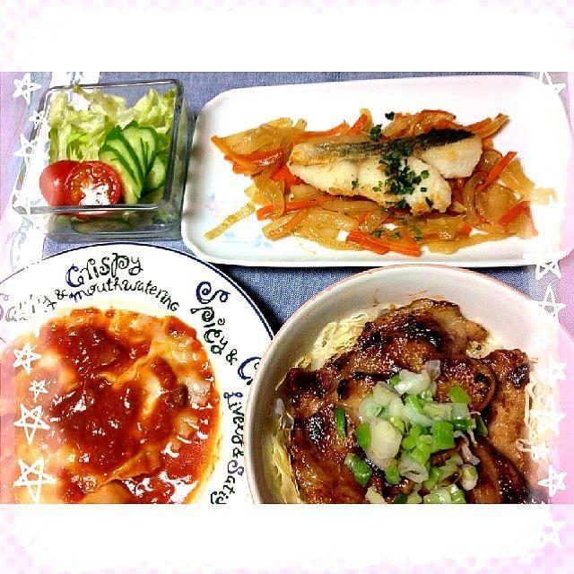 今日の晩ご飯(◕‿◕) - 35件のもぐもぐ - たらのバターポン酢&ラビオリのミートソース&焼き豚キャベツ丼&サラダ by yukariMINT
