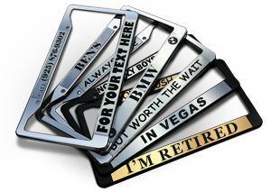 Check out this AWESOME site that lets you design your own custom license plate frames!  You can customize your own personalized license plate frame, or pick a frame from their gallery! http://bestlicenseplateframes.com/