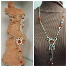 Collana lunga con cristalli orange