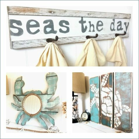 Painted Wood Signs and Hooks
