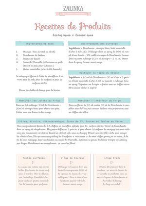 ECOLO et ECONOMIQUE = Fiche à imprimer de recettes de produits de nettoyage à faire soi même. www.zalinka.com