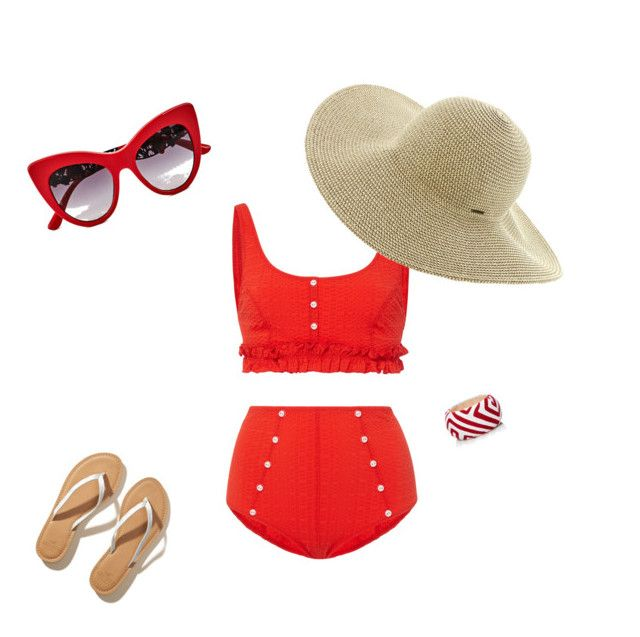 """""""I ❤️ Red"""" by sbags on Polyvore featuring Lisa Marie Fernandez, Dolce&Gabbana, Roxy, Hollister Co. and Mola SaSa"""