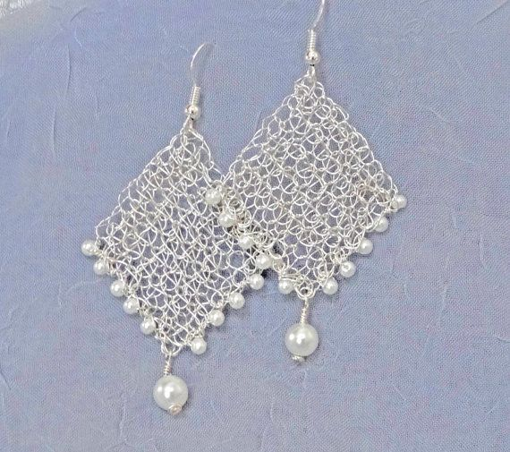 Romantic silver bridal earrings.Handmade wire crochet by ByDrora
