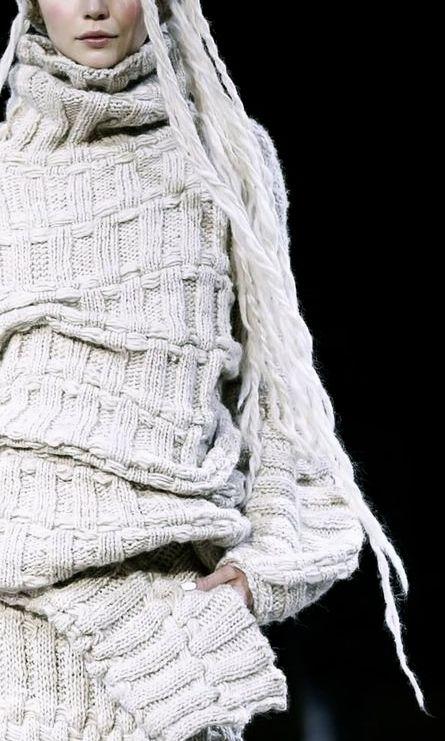 Textured knit sweater dress; contemporary knitwear details // Yohji Yamamoto Fall 2014