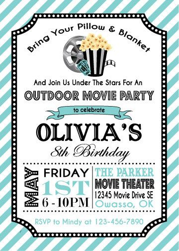Movie Party Invitation | Movie Party Birthday Invitation | Movie Party Printable Invitation | Outdoor Movie Party | The Party Darling