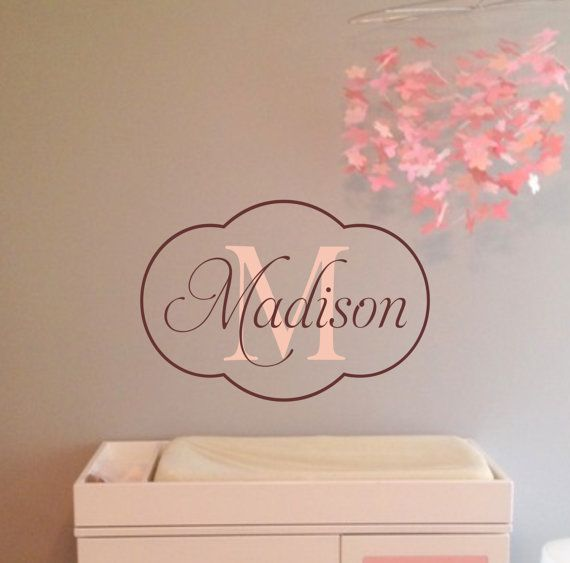 Baby Girl Nursery Wall Decal  Monogram Name by JustTheFrosting, $23.00