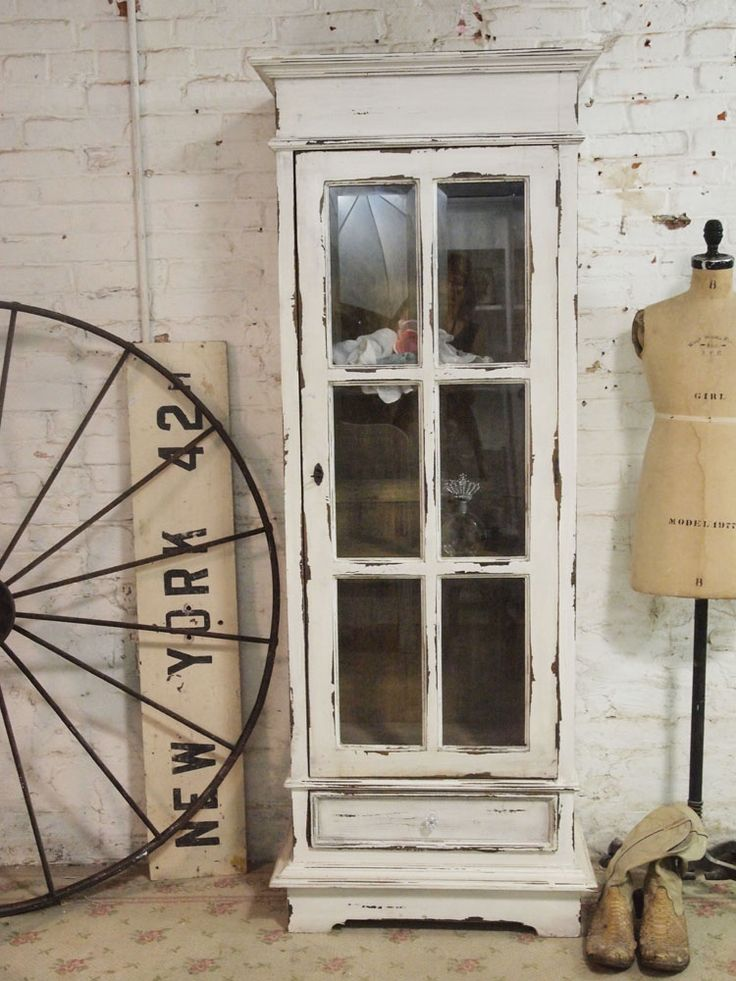 Painted Cottage Chic Shabby Chateau Farmhouse Linen Cabinet shabby chic china cabinet [CC47] - $425.00 : The Painted Cottage, Vintage Painted Furniture