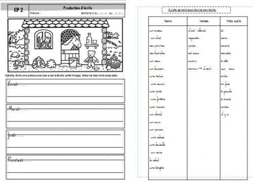 Productions d'écrits CP: Ecrire une phrase simple par jour - Véro à l'école