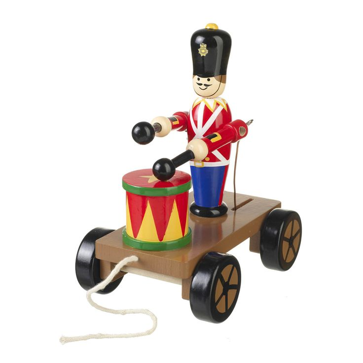 This charming traditional wooden toy featuring a drumming soldier on wheels will encourage your little one to learn about movement as well as having hours of fun!  http://www.english-heritageshop.org.uk/toys-games/activity/drumming-soldier-on-wheels