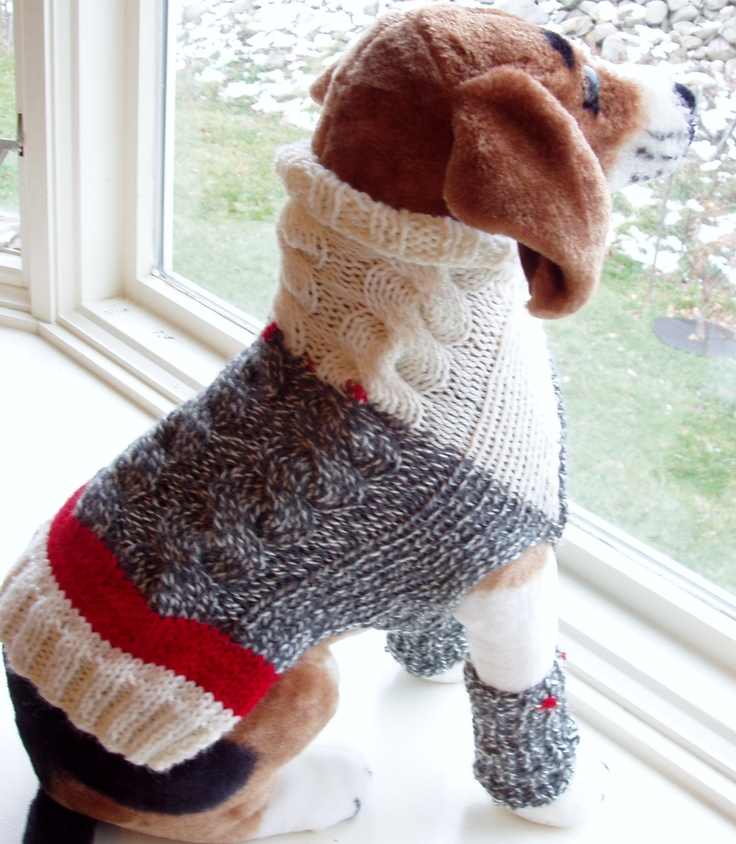 Hand Knit Tri Cable Dog Sweater with matching leg warmers ...