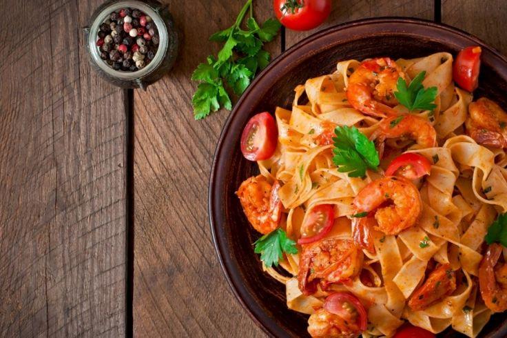 Fettucine...tomates épicées et crevettes !