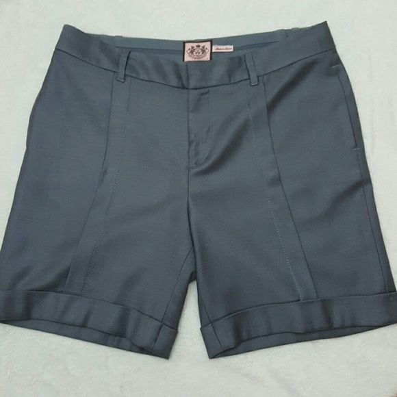 Wool Sorts Grey linned pleated cuffed 60% wool,  38% Viscore,  2% elastane, dress shorts. Juicy Couture Shorts