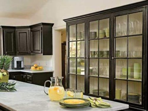 Black kitchen cabinets with glass doors dream house for Black kitchen cabinets with glass doors