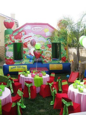 strawberry short cake theme birthday party table set up decoration ideas, centerpieces, supplies,  kids chair covers,