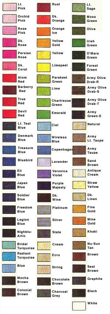 RIT dye color chart                                                       …