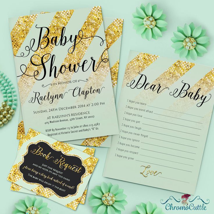 Mint Green And Gold Chevron Baby Shower Invitation   Complete Pack For Baby  Shower, Birthdays