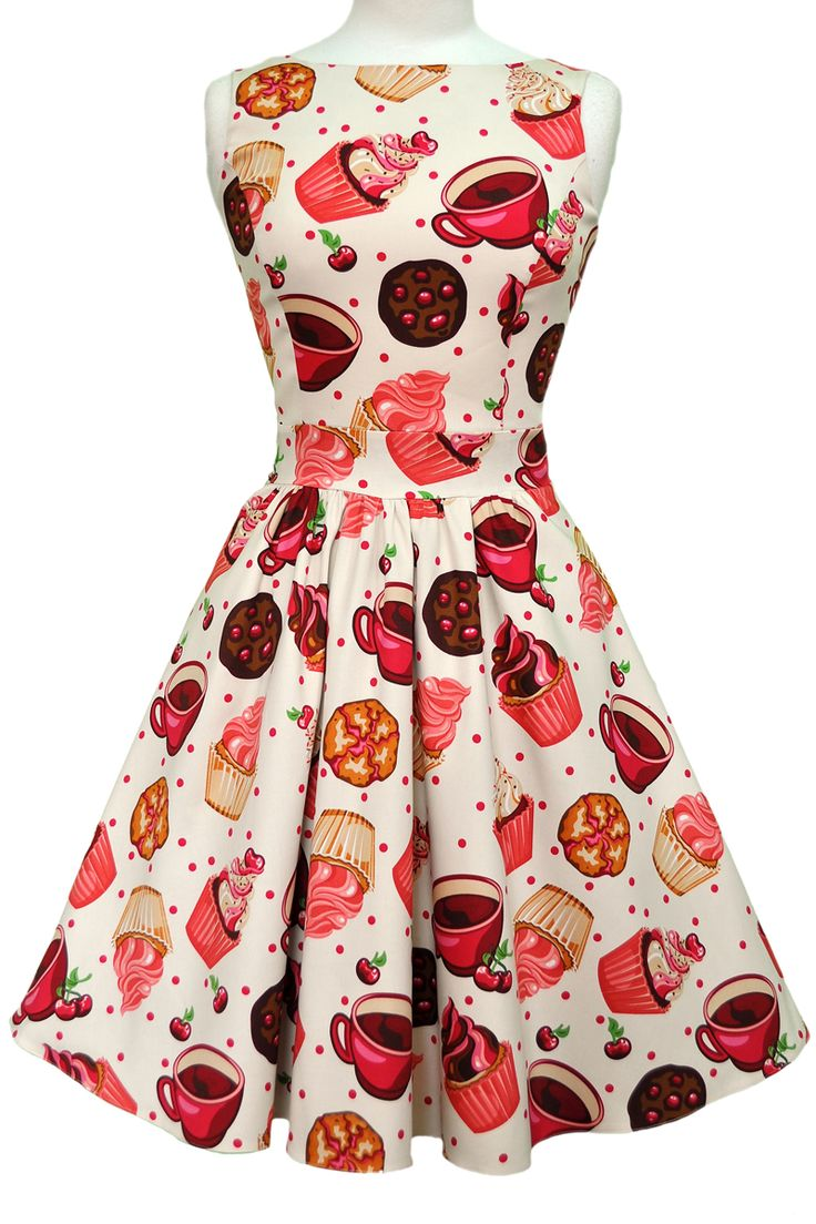 """This Classic """"Lady Vintage"""" 50s Tea Dress features a 50s style flared skirt with a..."""