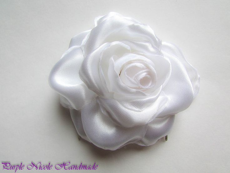 Pure Rose - Handmade Bridal Hair Comb by Purple Nicole (Nicole Cea Mov). Materials: satin, silvery comb.