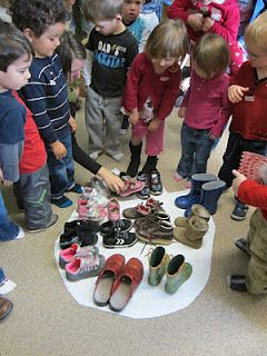 "How many shoes does it take to fill a dinosaur foot print? & read""Prehistoric Actual Size"" by Steve Jenkins-give to Frances and Karen M KW"