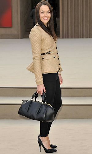Olympian Victoria Pendleton returned for her second season at Burberry looking super chic in a quilted leather jacket and skinny trews.