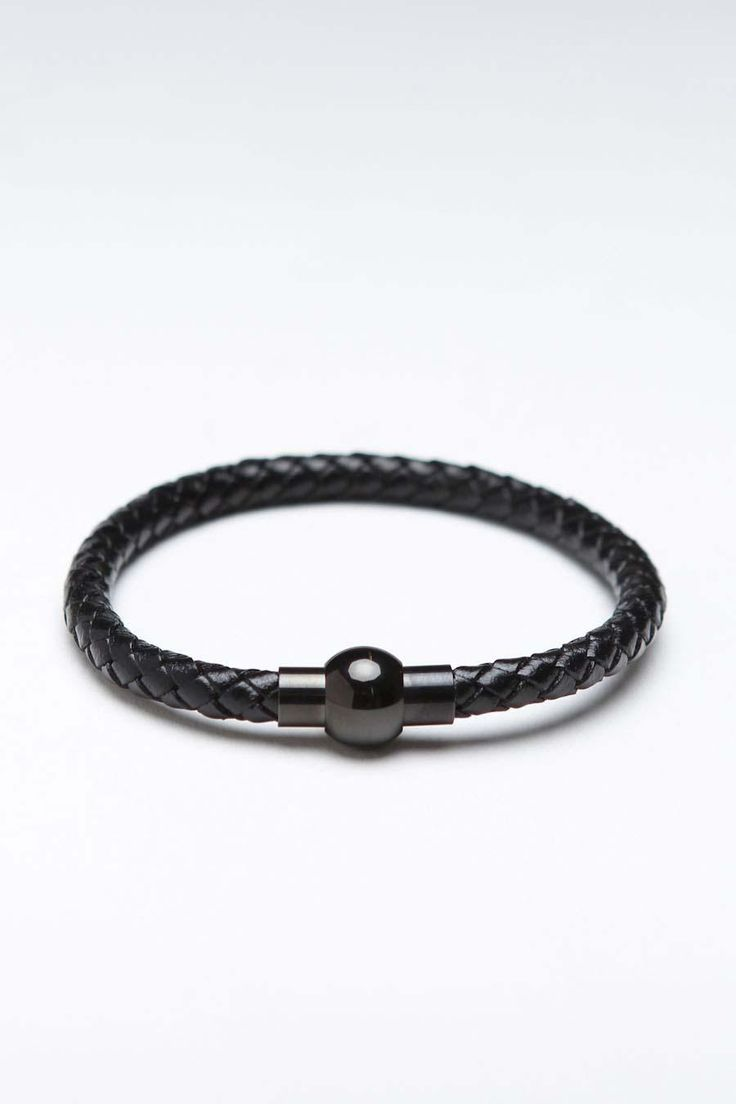 Black Leather Cord Bracelet With Magnetic Clasp Lock.