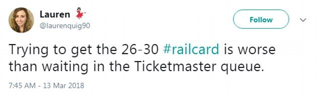Website for new 26-30 railcard crashes within MINUTES -  Railcard website is overwhelmed by applications for 10000 available in trial  Britons aged 26-30 told they could get card on a first come first served basis  But people said process was were left angry at the website crashing today  Frustrated millennials said it was 'worse than getting a Glastonbury ticket'  Other joked they'll want a Senior Railcard by the time the site actually works  By Mark Duell for MailOnline  Published: 04:04…