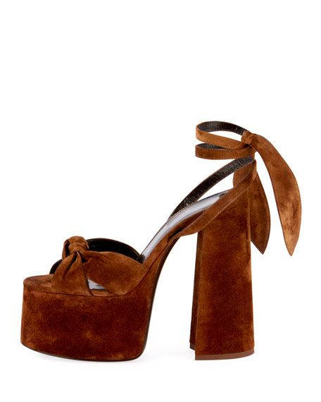 7401239b0cc Paige Platform Suede Sandals Saint Laurent Shoes