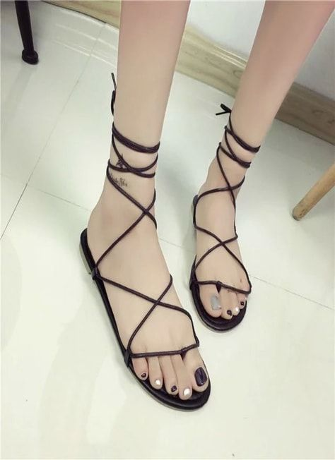 f875743b0 Ladies Simple Black Sandals With Thin Platform | Girl's Shoes | Shoes,  Strappy shoes, Sandals