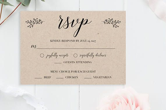 Rustic Wedding Rsvp Cards Template Card Printable Editable Response Kraft