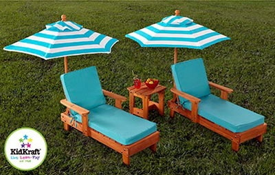 New Kids 2 Lounge Chairs & Umbrellas Set Youth Wood Chaise