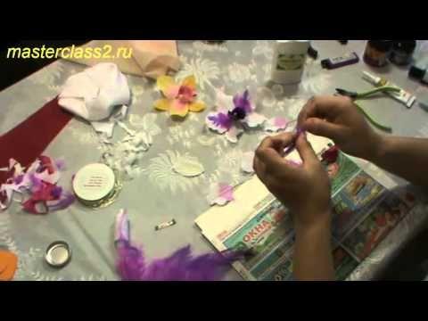 Цветок орхидеи. Мастер класс Цветы из ткани How to shape flower petals for kanzashi flowers.