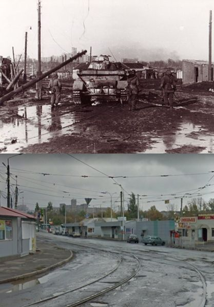 Then and Now WWII. PzKpfw IV and grenadiers of SS Division Totenkopf at the fork of the tramlines in the area of Piskunovsky Street, Kharkov. The Gosprom complex is visible in the distance. March, 1943.