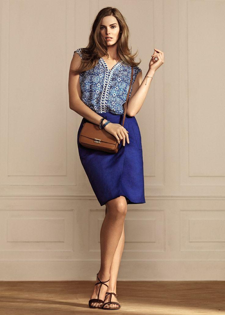 VIOLETA BY MANGO - Motif contrast print blouse #SS14