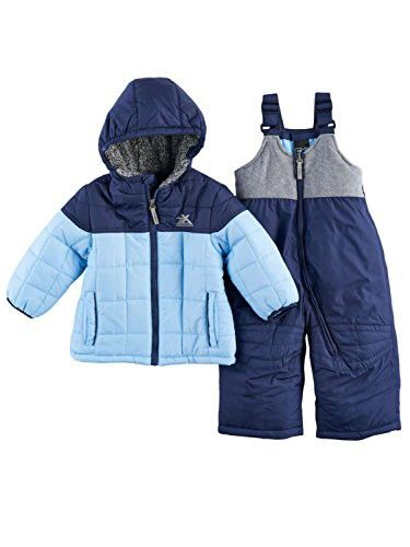 33cad935c2f4 ZeroXposur Infant Boys 2 Tone Blue Snowsuit Baby Snow Bibs   Winter ...