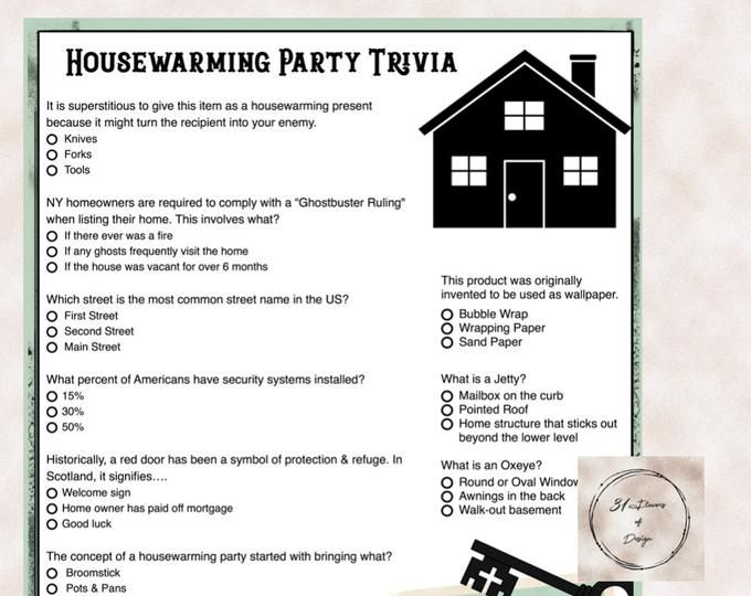 House Warming Party New Home Trivia Game Instant Download Etsy