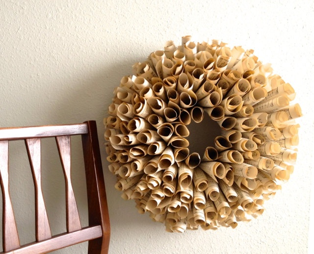Fall Paper Wreath - vintage music,dictionary, or novel pages  - Etsy Front Page Item. $59.50, via Etsy.