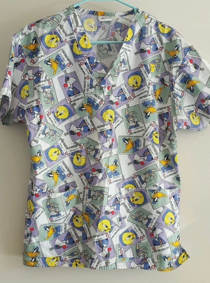 Scrub Top Small Looney Tunes Taz Bugs Daffy Sylvester Tweety Characters Sz Small #LooneyTunes