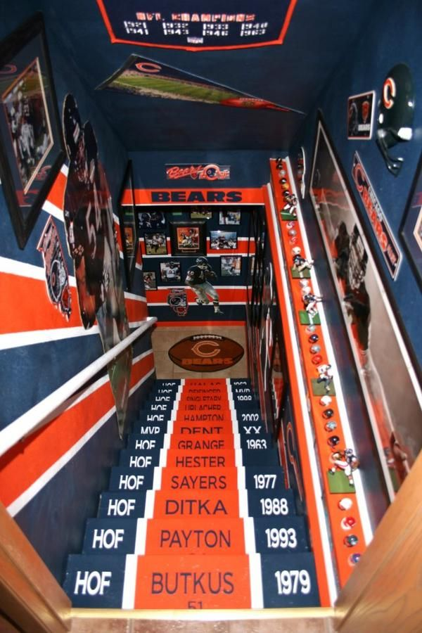 steps to the man cave...this ones for you honey! CHICAGO BEARS MAN CAVE!! - NFL Photo