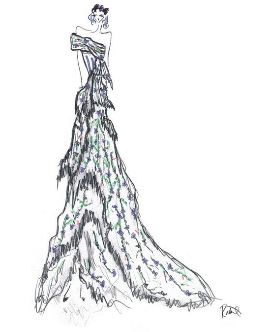 Sketch by Laura and Kate Mulleavy for costumes from Don Giovanni #fashion #sketch  #illustration