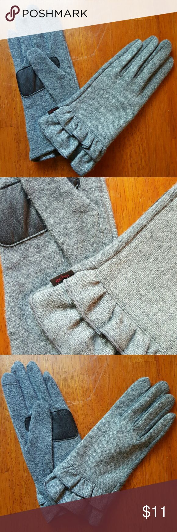 Echo womens gloves Gray with silver sparkles.faux leather palm..outside is wool, polyesyer, and nylon mix....new without tag Echo Accessories Gloves & Mittens