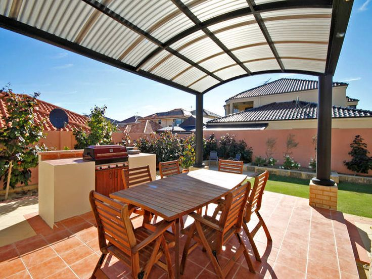 Curved roof with laserlight roof sheeting??  Outdoor living and entertaining in Australian. #Roof #deck #paving