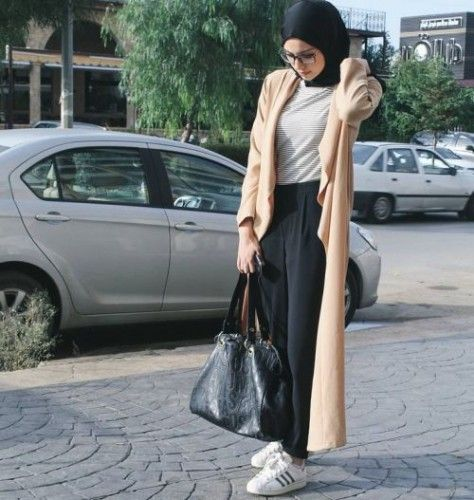 neutral long coat sporty hijab style…