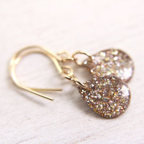 tiny gold glitter teardrop earrings  gold drop by tinygalaxies, $21.50