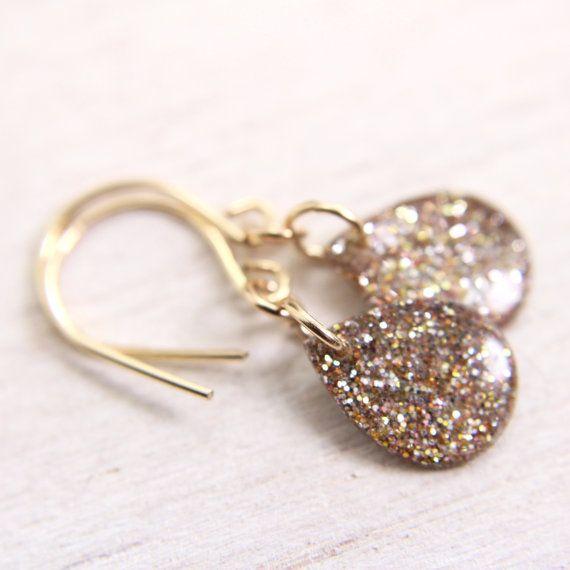 tiny gold glitter teardrop earrings  gold drop by tinygalaxies, $21.50