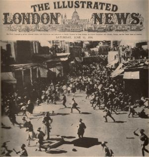 Jaffa, Palestine: The beginning of the Arab Revolt of 1936-39. British riot police clash with Palestinian demonstrators protesting Britain's pro-Zionist policies (specifically increasing Zionist immigration into Palestine), Central Square, Jaffa, 12 June 1936. (via Walid Khalidi, Before Their Diaspora).